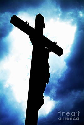 Silhouetted Crucifix Against A Cloudy Sky Poster by Sami Sarkis