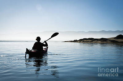 Silhouetted Morro Bay Kayaker Poster by Bill Brennan - Printscapes