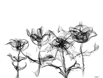 Unique View Poster featuring the drawing Silk Wildflowers Series 1 by Abstract Alien Artist Stephen K