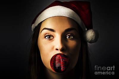 Silly Season Santa Girl With Christmas Decoration Poster by Jorgo Photography - Wall Art Gallery