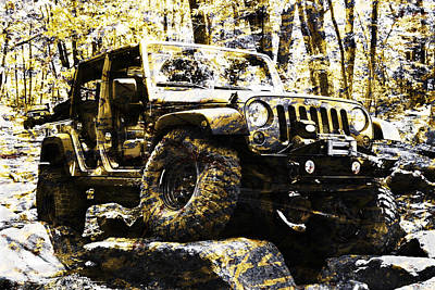 Silver And Gold Jeep Wrangler Jku Poster by Luke Moore