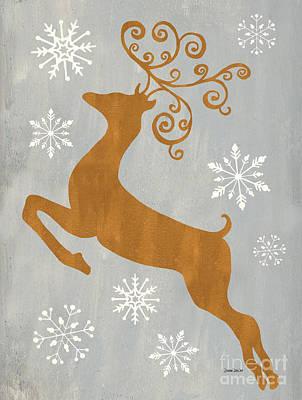 Silver Gold Reindeer Poster by Debbie DeWitt
