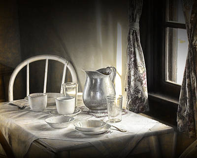 Silver Pitcher In A Vintage Table Setting Poster by Randall Nyhof