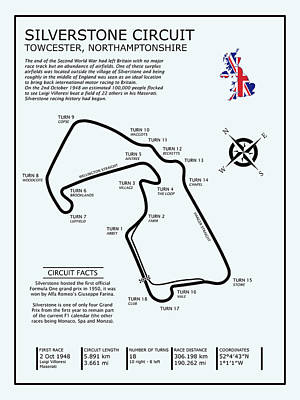 Silverstone Circuit Poster by Mark Rogan