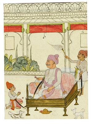 Singh Seated With His Son Kunwar Raj Singh Poster by Eastern Accent
