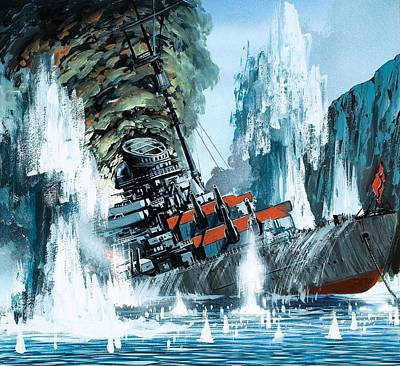 Sinking Of The Tirpitz Poster by Mike Tregenza