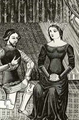 Sir Lancelot Kneels In Front Of Queen Poster by Vintage Design Pics
