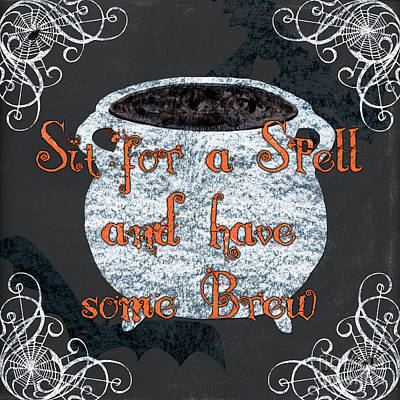 Sit For A Spell Poster by Debbie DeWitt