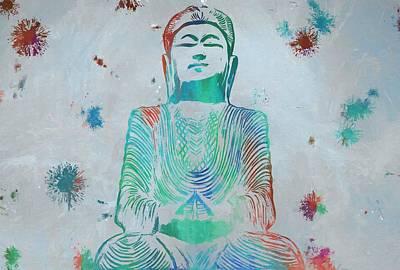 Sitting Buddha Paint Splatter Poster by Dan Sproul