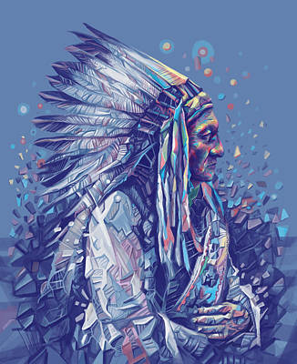 Sitting Bull Decorative Portrait Poster by Bekim Art