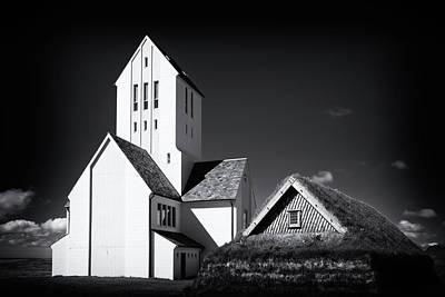 Skalholt Cathedral Iceland Black And White Poster by Matthias Hauser
