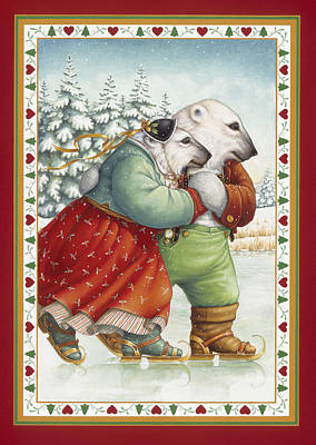 Skating Bears Poster by Lynn Bywaters