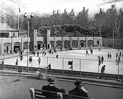 Skating Rink In Central Park Poster by Underwood & Underwood