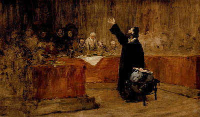 Sketch For Columbus Before The Council Of Salamanca Poster by William Merritt Chase