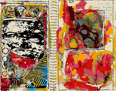 Sketchbook Page With Abstract Study And Mona Lisa Poster by F Burton