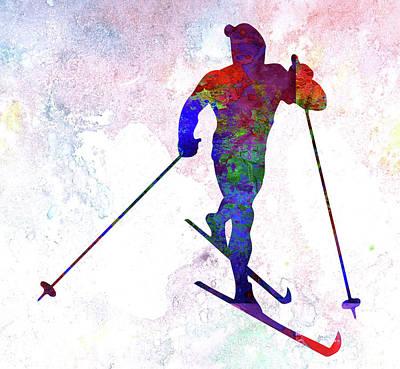 Skier Poster by Elena Kosvincheva