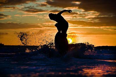 Skimboard On Eclipse Sunset  Poster by Alexandru  Baranescu