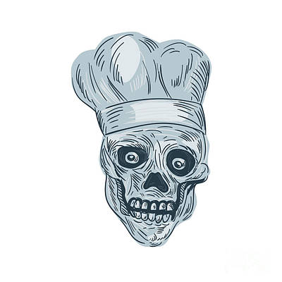 Skull Chef Cook Drawing Poster by Aloysius Patrimonio