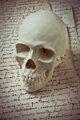 Skull On Old Letters Poster by Garry Gay