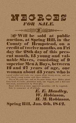 Slave Auction Poster by War Is Hell Store