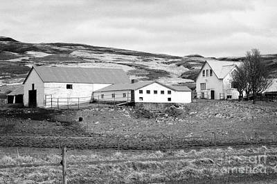 Small Icelandic Farm Homestead Farmhouse With Barn Red Roofed Iceland Poster by Joe Fox