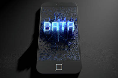 Smart Phone Emanating Data Poster by Allan Swart
