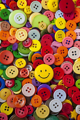 Smiley Face Button Poster by Garry Gay