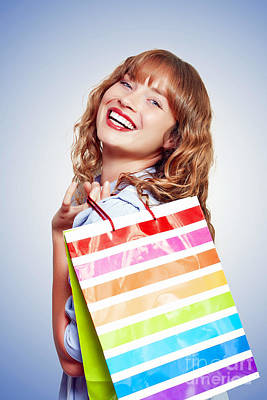 Smiling Woman With Shopping Bag Poster by Jorgo Photography - Wall Art Gallery