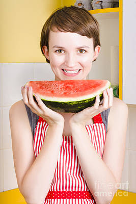 Smiling Young Woman Eating Fresh Fruit Watermelon Poster by Jorgo Photography - Wall Art Gallery