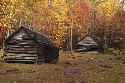 Smoky Mountain Cabins At Autumn Poster by Andrew Soundarajan