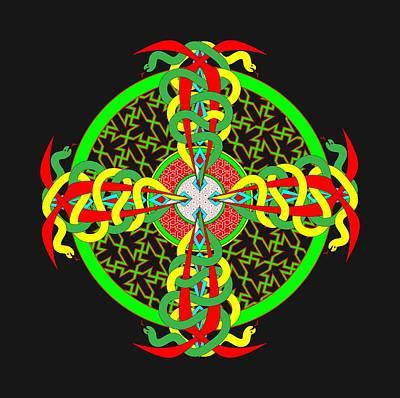 Snake Cross Circle Pattern Poster by John Groves