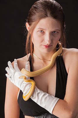 Snake Lady Or Girl With Live Snake Photograph 5253.02 Poster by M K  Miller