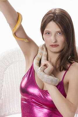 Snake Lady Or Girl With Live Snake Photograph 5265.02 Poster by M K  Miller