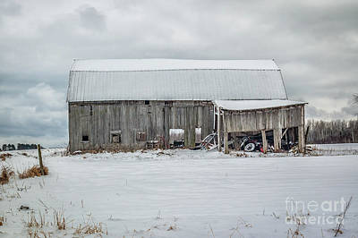 Snow Covered Barn Poster by Patrick Shupert