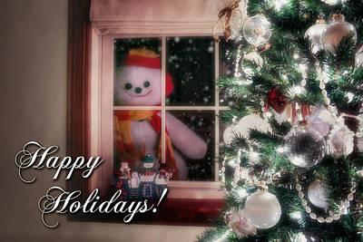 Snowman At The Window Card Poster by Tom Mc Nemar