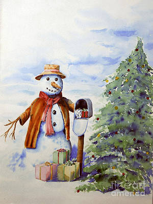 Snowman Presents Poster by Ann Sokolovich