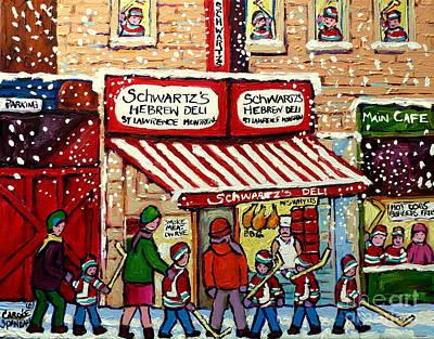 Snowy Day At Schwartz's Deli Montreal Winter City Scene Painting Hockey Art Carole Spandau           Poster by Carole Spandau