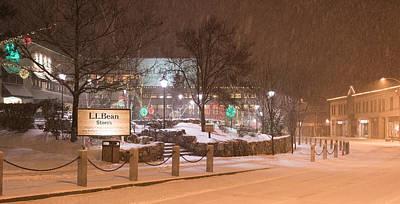 Snowy Night Freeport Maine Poster by Stan Dzugan