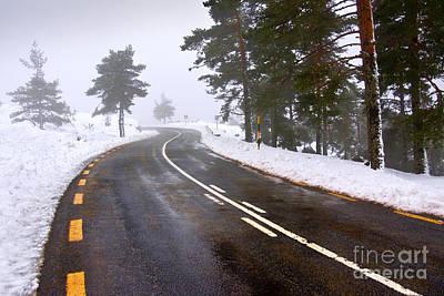 Snowy Road Poster by Carlos Caetano