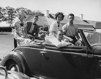 Society Youths In Convertible Poster by Underwood Archives