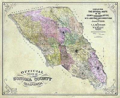 Sonoma County Map 1900 Poster by Jon Neidert