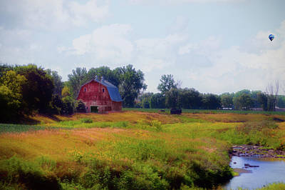 South Dakota Barn In August With Hot Air Balloon Poster by Thomas Woolworth