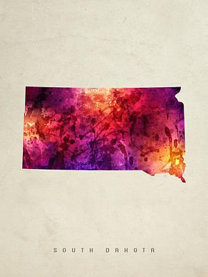 South Dakota State Map 05 Poster by Aged Pixel