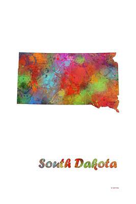 South Dakota State Map Poster by Marlene Watson