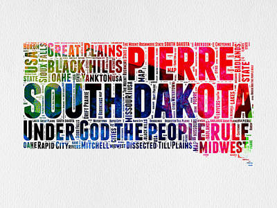 South Dakota Watercolor Word Cloud Poster by Naxart Studio