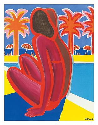 South Of France French Riviera Vintage Travel Poster By Bernard Villemot Poster by Retro Graphics