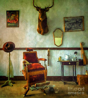 South Pass City Barber Shop Poster by Priscilla Burgers