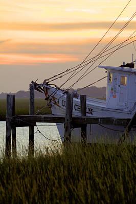 Southern Shrimp Boat Sunset Poster by Dustin K Ryan
