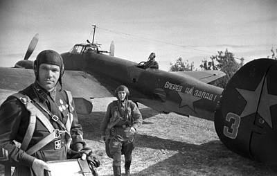 Soviet Pe-2 Bomber And Crew, 1942 Poster by Ria Novosti