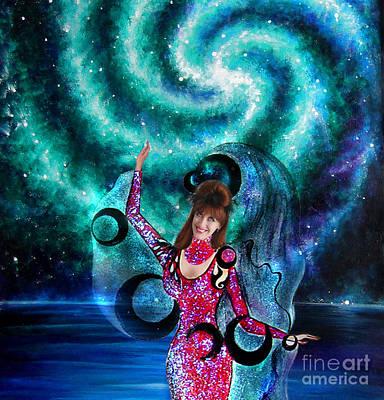Space Dancer With Black Moons. Sofia Goldberg Of Ameynra Poster by Sofia Goldberg